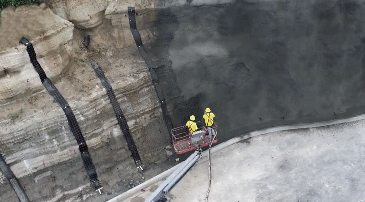 Торкретирование поверхностей бетоном