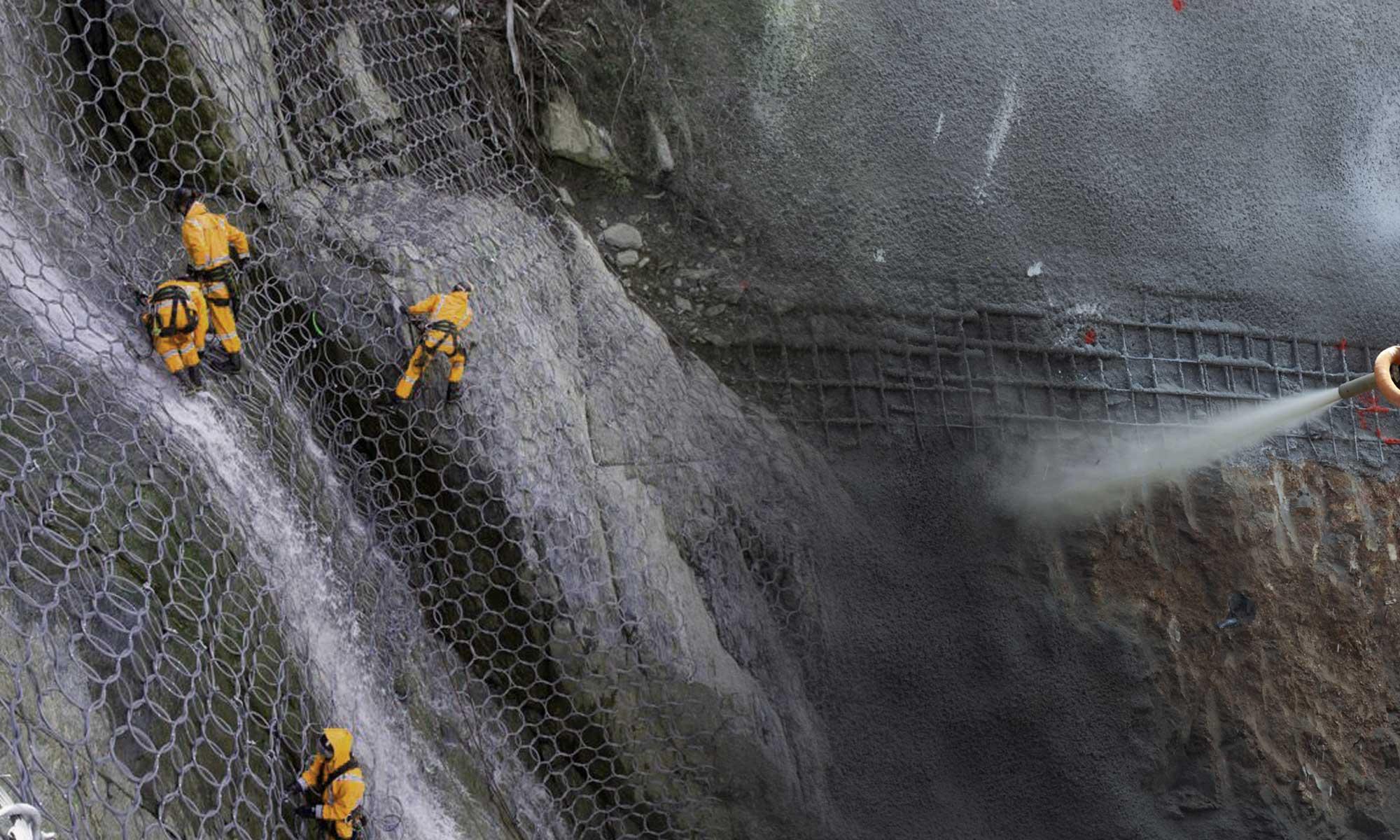 Укрепление склонов от оползней. Торкретирование бетоном